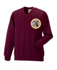 Burgundy V-neck sweatshirt - Embroidered with Fordley Primary School Logo