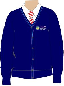 Navy/Sky Trim Cardigan - Embroidered with Haltwhistle Academy School Logo