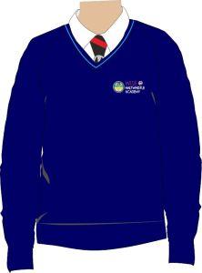 Navy/Sky Trim Jumper - Embroidered with Haltwhistle Academy School Logo
