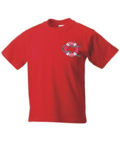 Red PE T-shirt - Embroidered with Marine Park First School Logo