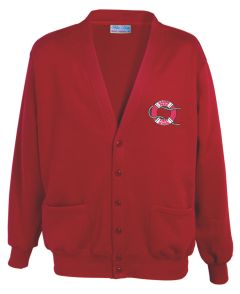 Red Cardigan- Embroidered with Marine Park First School Logo