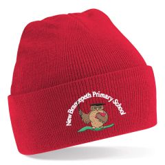 Red Knitted Hat - Embroidered With New Brancepeth Primary School Logo