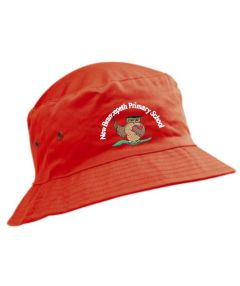 Red Cotton Beannie Hat - Embroidered With New Brancepeth Primary School Logo