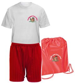 FULL PE Kit (T-Shirt, Shorts & PE Bag) - Embroidered With New Brancepeth Primary School Logo