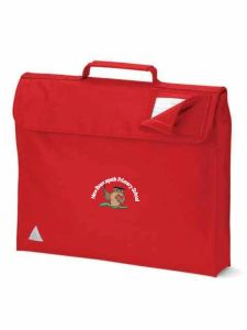 Red Bookbag - Embroidered with New Brancepeth Primary School logo