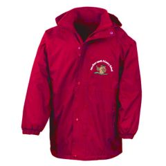 Red Stormproof Coat - Embroidered With New Brancepeth Primary School Logo