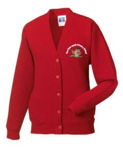 Red SweatCardigan - Embroidered With New Brancepeth Primary School Logo