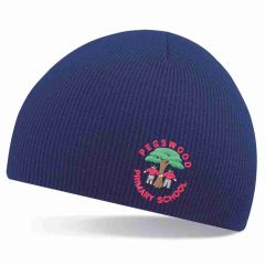 Navy Beanie Hat - Embroidered with Pegswood Primary School Logo