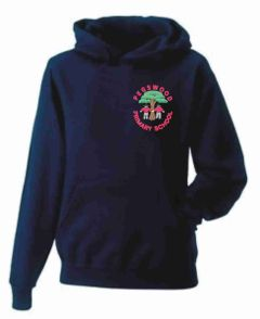 """""""FOREST SCHOOL"""" Navy Hoody - Embroidered with Pegswood Primary School Logo & PRINTED BACK"""