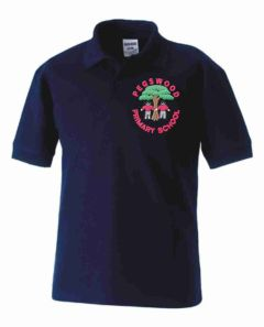 Navy Polo - Embroidered with Pegswood Primary School Logo