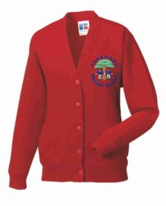 Red SweatCardigan - Embroidered with Pegswood Primary School Logo