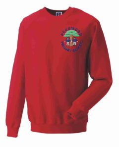 Red Crew-neck sweatshirt - Embroidered with Pegswood Primary School Logo