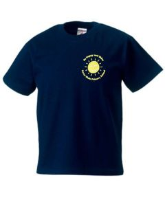 PE Navy T-Shirt - Embroidered with Percy Main Primary School logo