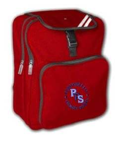 Red Junior Back Pack - Embroidered With Portobello Primary School Logo