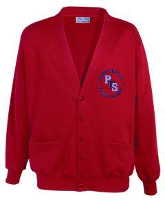 Red Sweat Cardigan - Embroidered with Portobello Primary School Logo