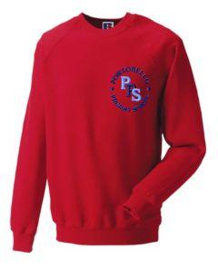 Red Sweatshirt - Embroidered with Portobello Primary School Logo