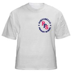 White T-Shirt with embroidered Portobello Primary School Logo