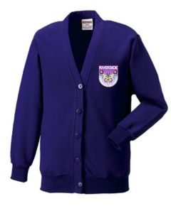 Purple Sweat Cardigan - Embroidered with Riverside Primary School logo