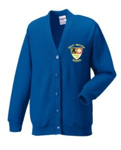 Royal Blue Sweat Cardigan - Embroidered with Great Smeaton Academy Primary School Logo