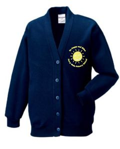 Navy Blue Sweat Cardigan - Embroidered with Percy Main Primary School logo
