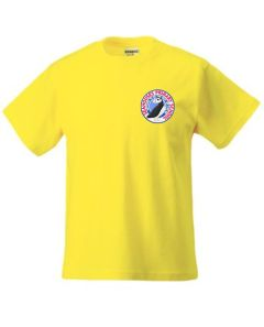 Yellow PE T-Shirt - Embroidered with Seahouses Primary School Logo