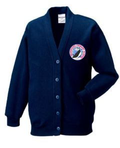 Navy Sweat Cardigan - Embroidered with Seahouses Primary School logo (for Years 5 & 6 ONLY)