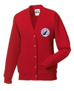 Red Sweat Cardigan - Embroidered with Seahouses Primary School logo