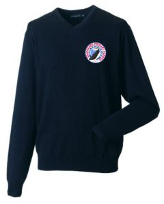 Navy Cotton Knitted V-neck Jumper (Yr 5 & 6 Only) - Embroidered with Seahouses Primary School logo