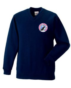 Navy V-Neck Sweatshirt (Yr 5 & 6 Only) -  Embroidered with Seahouses Primary School logo