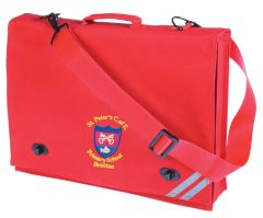 Red Document Case - Embroidered with St Peter's CofE Primary School (Brotton) logo