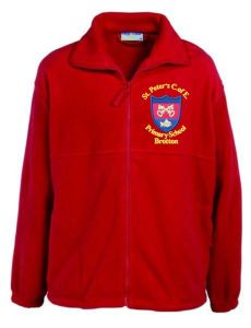 Red Fleece - Embroidered with St Peter's CofE Primary School (Brotton) logo