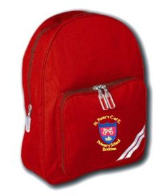 Red Infant Backpack - Embroidered with St Peter's CofE Primary School (Brotton) logo