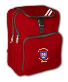 Red Junior Backpack - Embroidered with St Peter's CofE Primary School (Brotton) logo