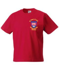 Red PE T-Shirt - Embroidered with St Peter's CofE Primary School (Brotton) logo