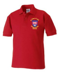 Red Polo - Embroidered with St Peter's CofE Primary School (Brotton) logo