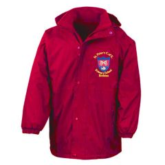 Red Result Stormproof Coat - Embroidered with St Peter's CofE Primary School (Brotton) logo