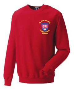 Red Sweatshirt - Embroidered with St Peter's CofE Primary School (Brotton) logo
