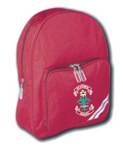 Burgundy Infant Back Pack - Embroidered with St. Anne's C.E.PS (Bishop Auckland) Logo