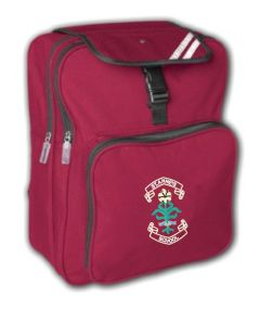 Burgundy Junior Back Pack - Embroidered with St. Anne's C.E.PS (Bishop Auckland) Logo