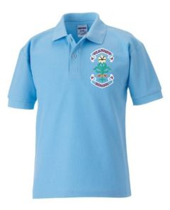 Sky Polo - Embroidered with St. Anne's C.E.PS (Bishop Auckland) Logo