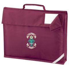 Burgundy Book Bag - Embroidered with St. Anne's C.E.PS (Bishop Auckland) Logo