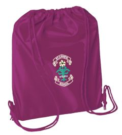Burgundy PE Bag - Embroidered with St. Anne's C.E.PS (Bishop Auckland) Logo