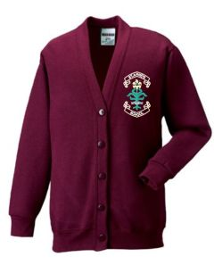 Burgundy SweatCardigan - Embroidered with St. Anne's C.E.PS (Bishop Auckland) Logo