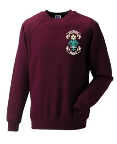 Burgundy Crew-neck sweatshirt - Embroidered with St. Anne's C.E.PS (Bishop Auckland) Logo