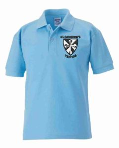 Sky Blue Polo - Embroidered with St Catherine's Primary School logo
