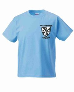 Sky Blue PE T-Shirt - Embroidered with St Catherine's RC Primary School logo