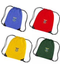 Red, Royal, Yellow, Bottle Green PE Bag - Embroidered with St Joseph's School (Stanley) logo