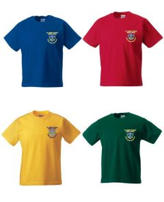 Red, Royal, Yellow or Bottle Green PE T-Shirt - Embroidered with St Joseph's Primary School (Stanley) logo