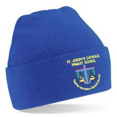 Royal Knitted Hat - Embroidered with St Joseph's School (Stanley) logo