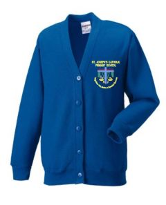 Royal Sweat Cardigan- Embroidered with St Joseph's Primary School (Stanley) logo